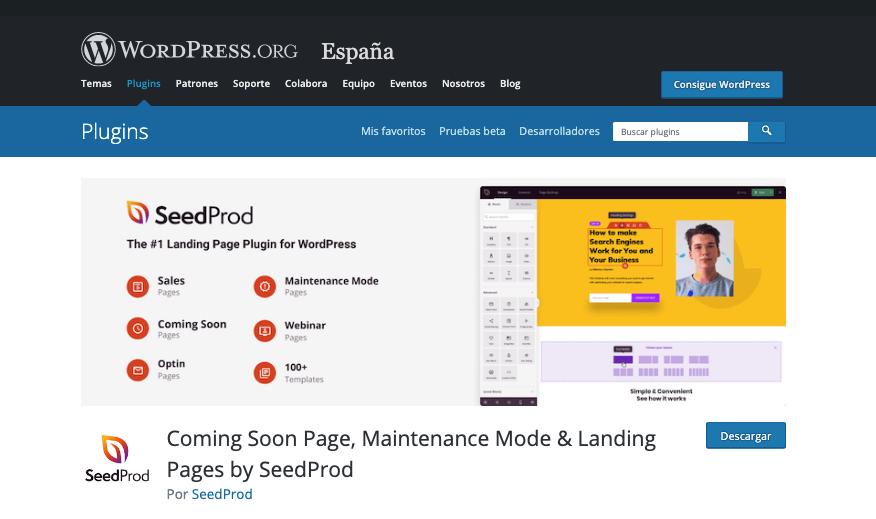 Página de descarga del plugin Coming Soon Page, Maintenance Mode & Landing Pages by SeedProd