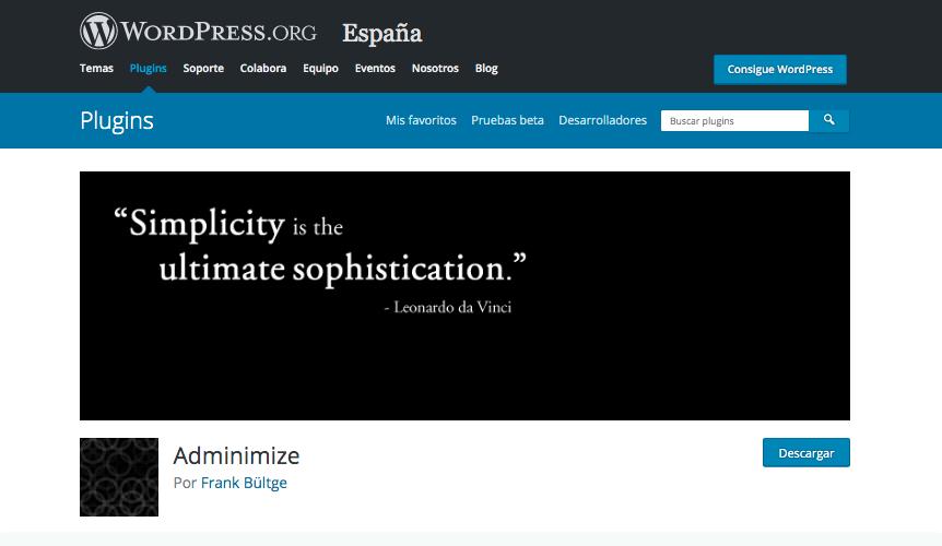 Pantalla de descarga del plugin Adminimize de WordPress