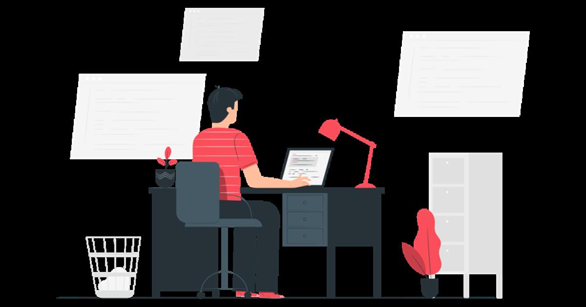 Hombre trabajando código en su oficina