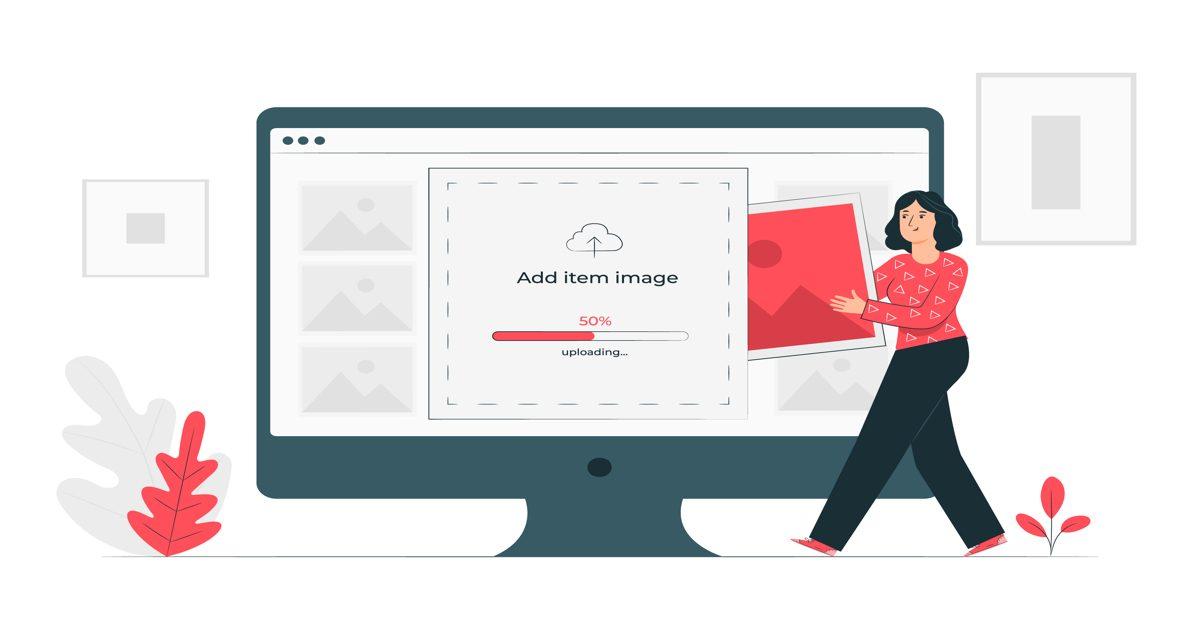 Ilustración con mujer colocando a cargar una imagen en una web