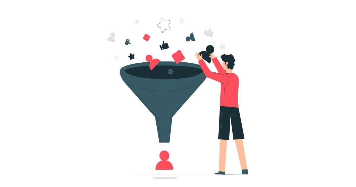 Ilustración de un embudo en el que una persona introduce datos de clientes