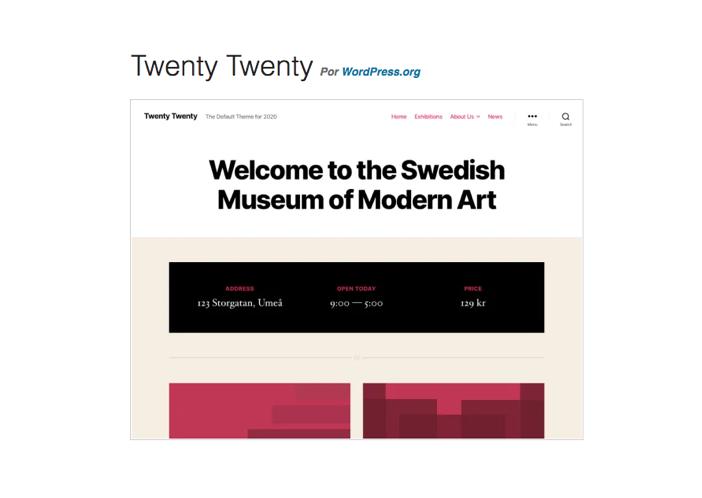 Imagen de presentación del tema Twenty Twenty en la web oficial de WordPress