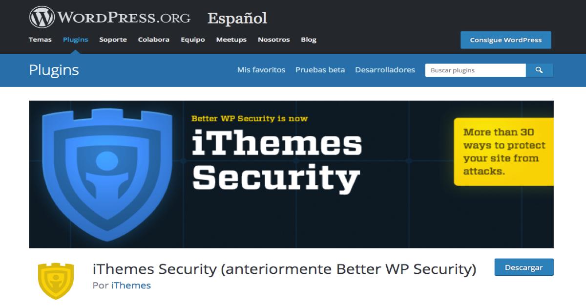 Imagen de la página de descarga del plugin iThemes Security para WordPress