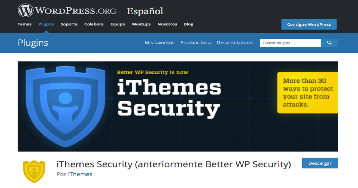 Imagen de la página de descarga del plugin iThemes Security para WordPress