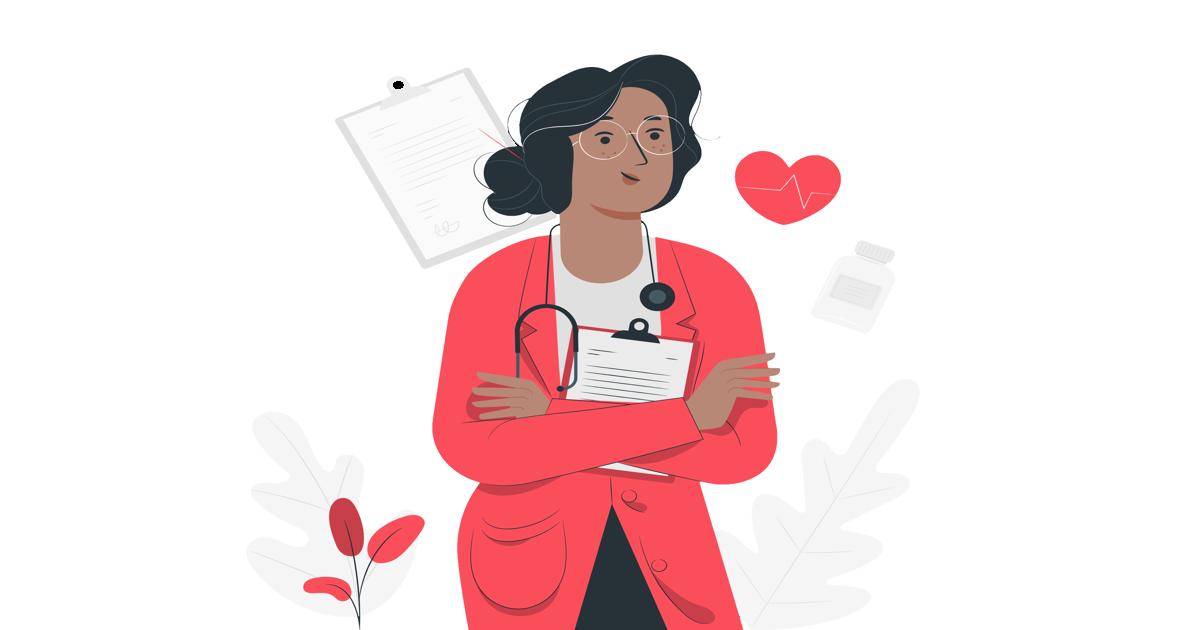 Ilustración mostrando a una doctora con un estetoscopio y un cuaderno entre sus brazos