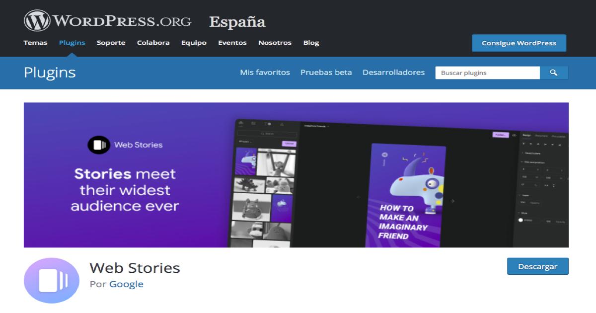 Imagen de la portada de Web Stories de Google en el buscador de plugins de WordPress