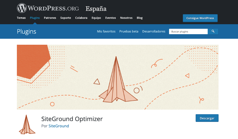 Página de descarga de SiteGround Optimizer en el repositorio de WordPress.