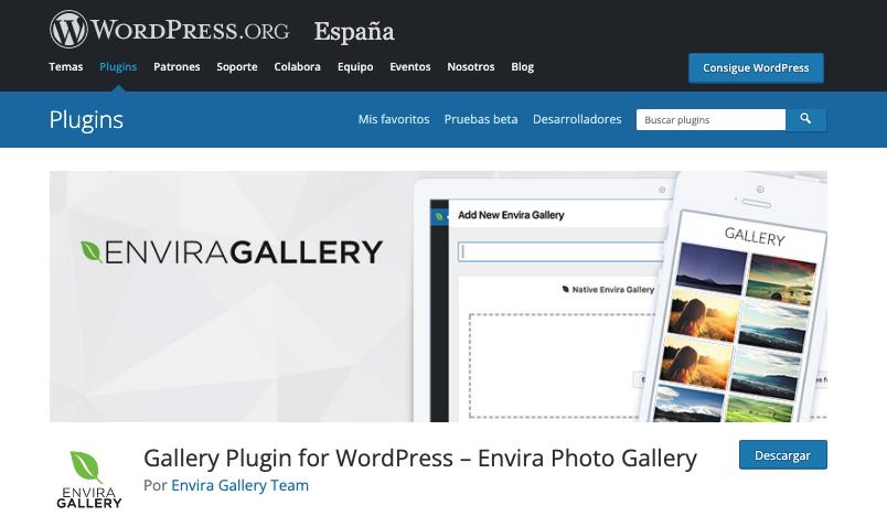 Página del plugin Envira Gallery en WordPress