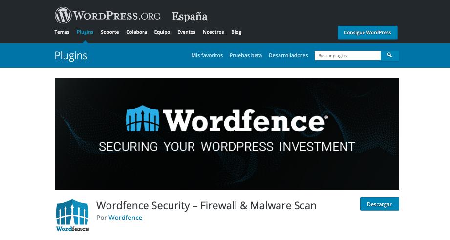 Página web del respositorio de WordPress con el plugin Wordfence para descargar