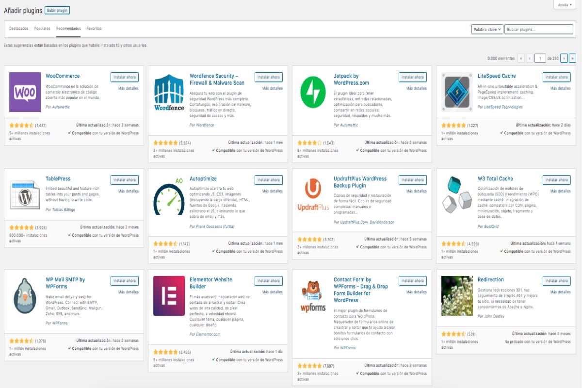Captura de pantalla del repositorio de complementos de Wordpress con algunos de los mejores plugins premium