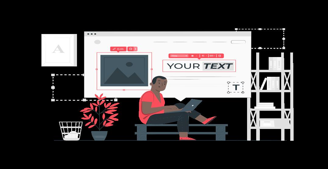 Ilustración con concepto de persona editando el contenido y diseño de tu página web