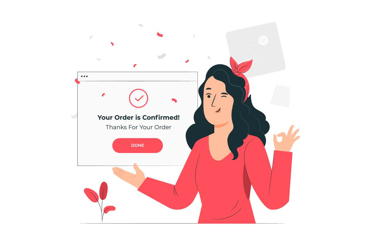Imagen ilustrada que representa la compra finalizada de un producto en un eCommerce