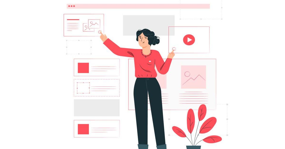Ilustración de mujer diseñando una página web en WordPress por módulos