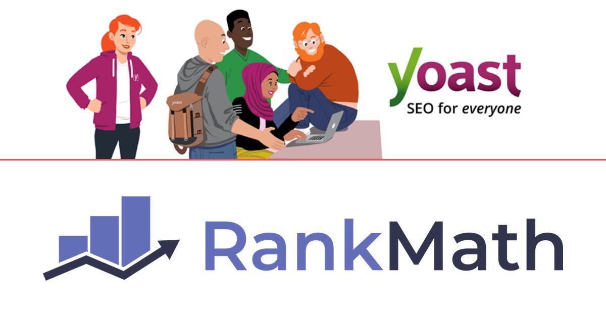 Imágenes promocionales de las webs de Yoast SEO y Rank Math