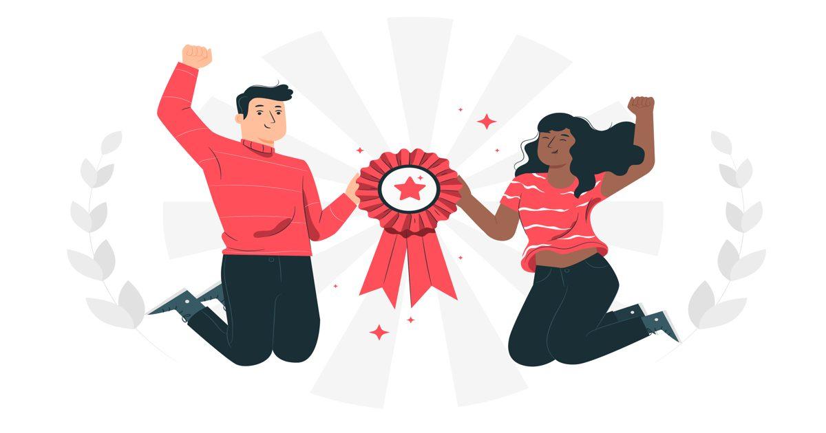 Ilustración con dos personas saltando y celebrando una victoria en relación a los mejores plugins para el 2021