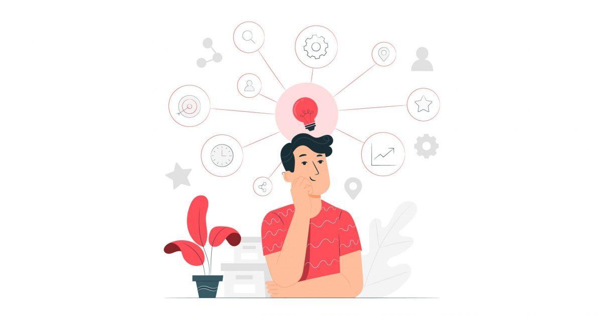 Ilustración de un chico pensando en diferentes funcionalidades representadas a su alrededor con iconos.