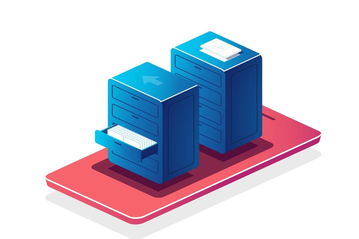 Imagen en formato vector con dos archivadores de color azul