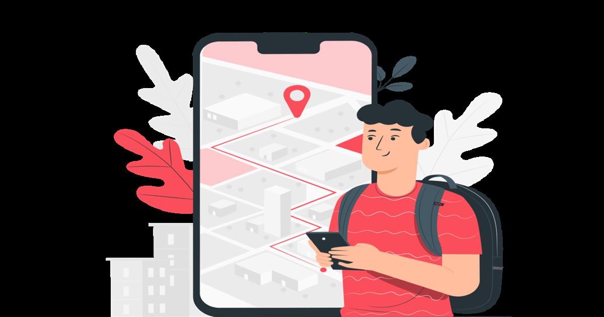 Ilustración donde aparece un chico con su smartphone revisando el mapa de un sitio web para llegar a su destino.