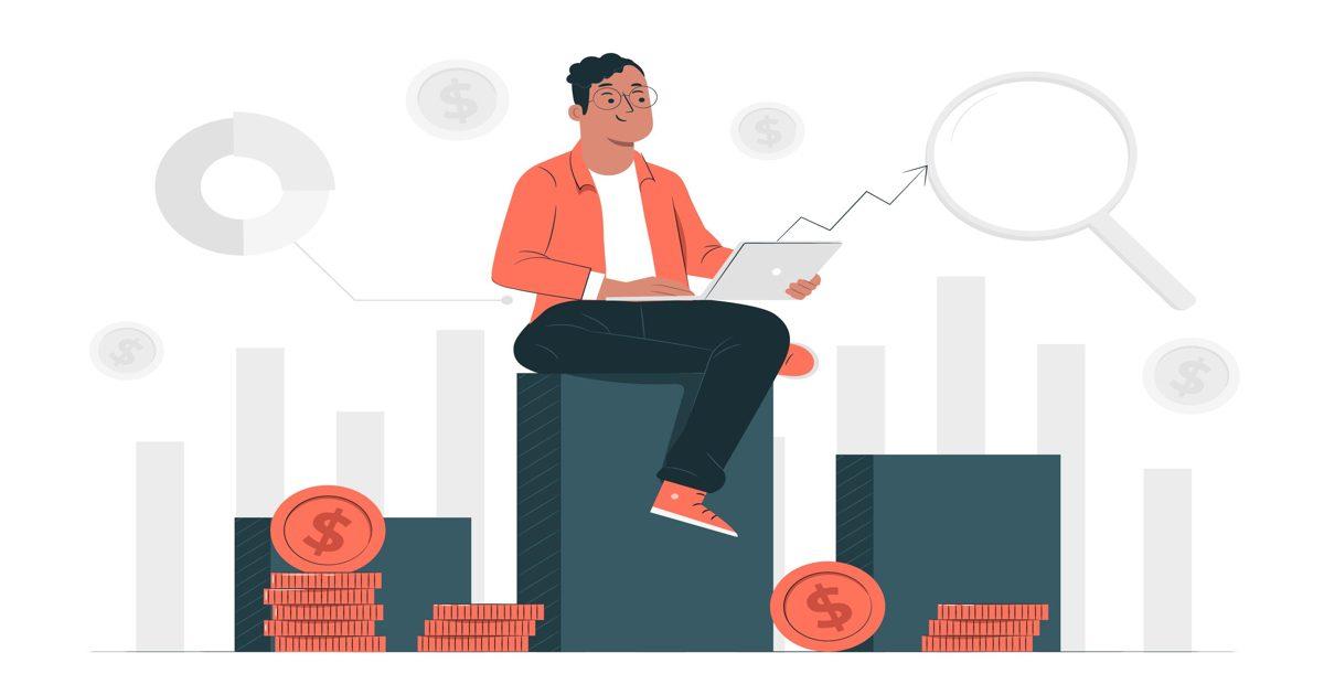 Ilustración de un hombre sentado en una plataforma con su ordenador portátil
