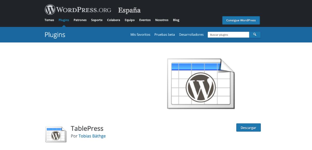 Página de descarga de Tablepress en WordPress