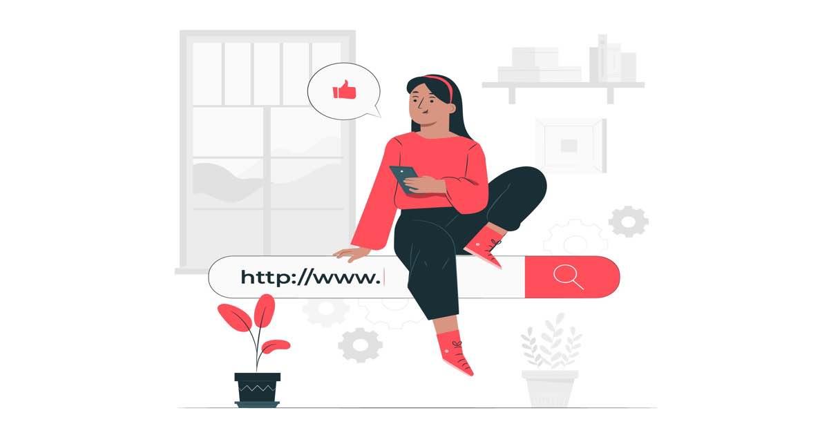 Ilustración de mujer sentada sobre barra de un navegador web