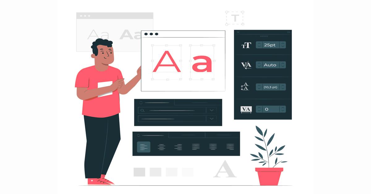 Ilustración hombre manejando distintos tipos de letra para su página web