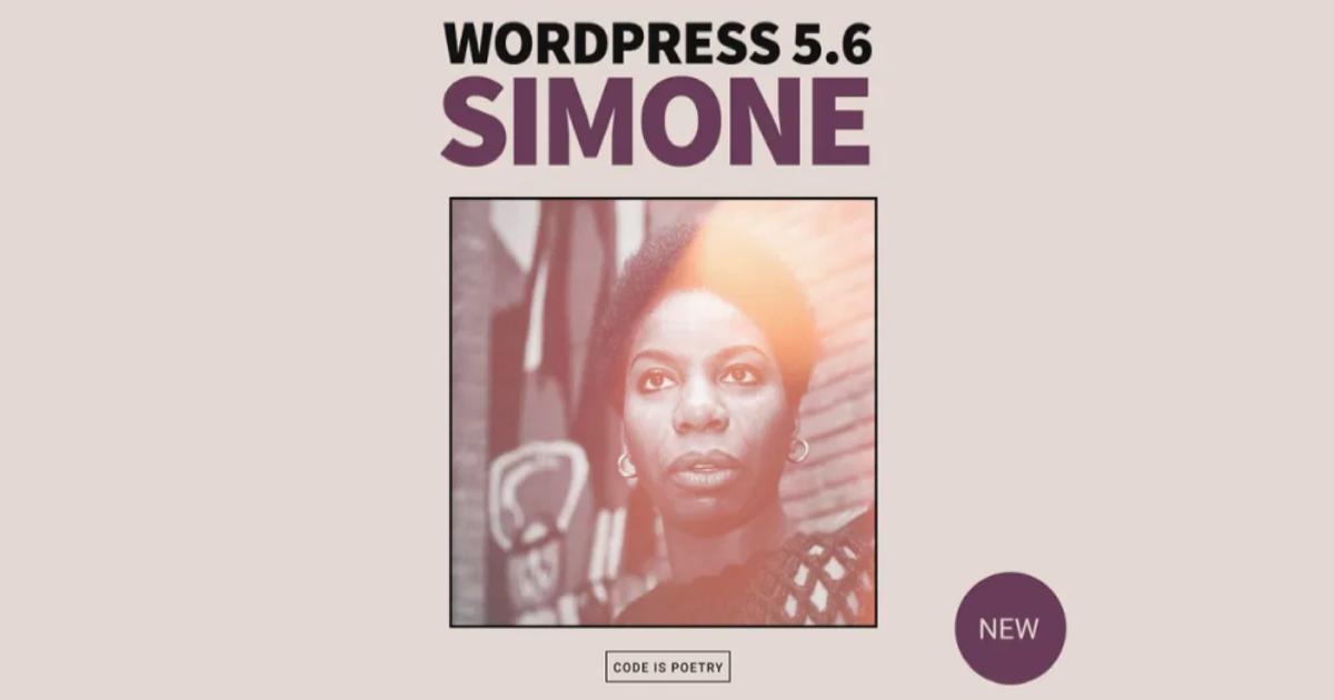 Fotografía de la cantante Nina Simone y logotipos de WordPress 5.6