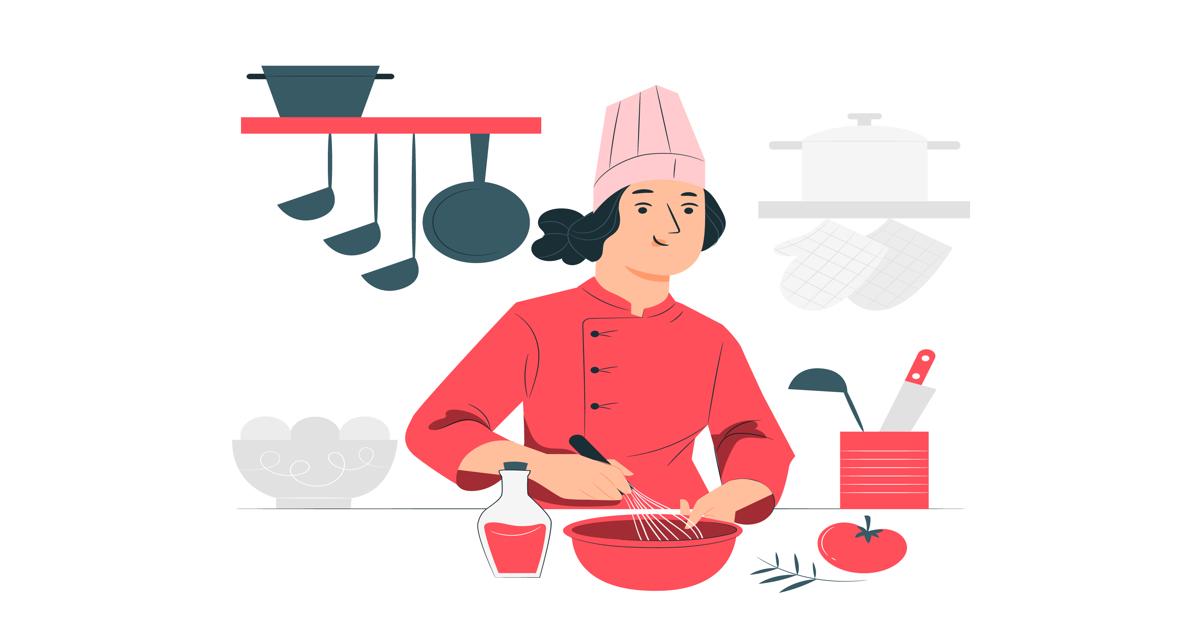 Ilustración mujer cocinando