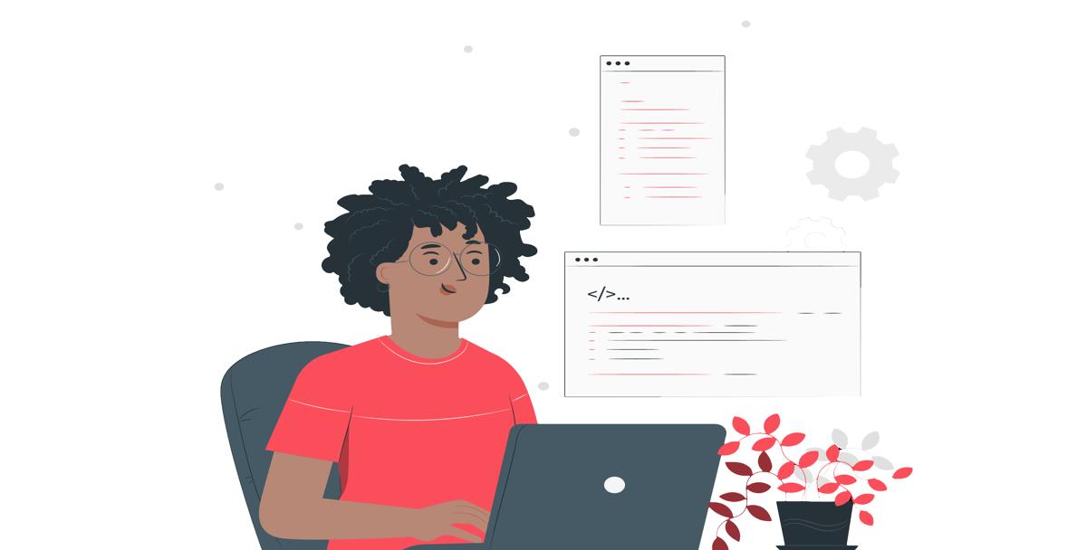 Ilustración de un hombre programando con su ordenador portátil