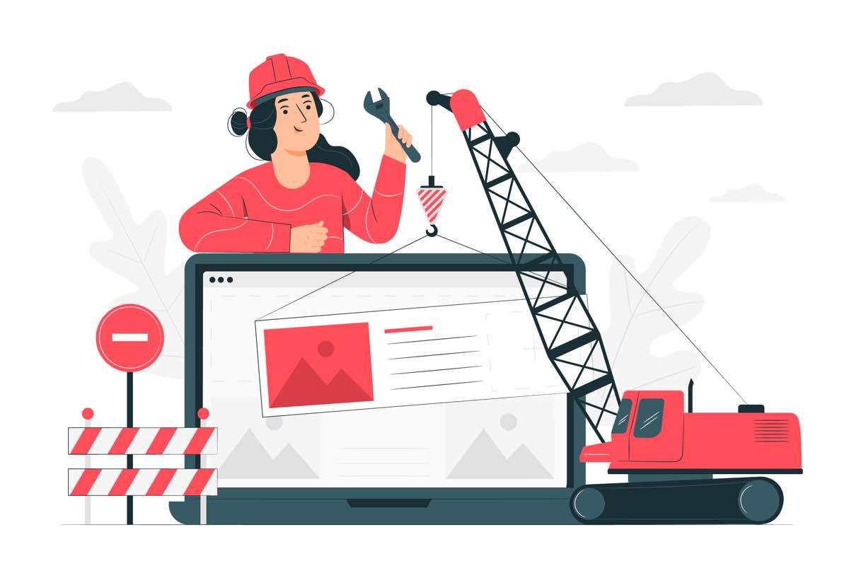 Icono de grúa llevando el mantenimiento de una página web