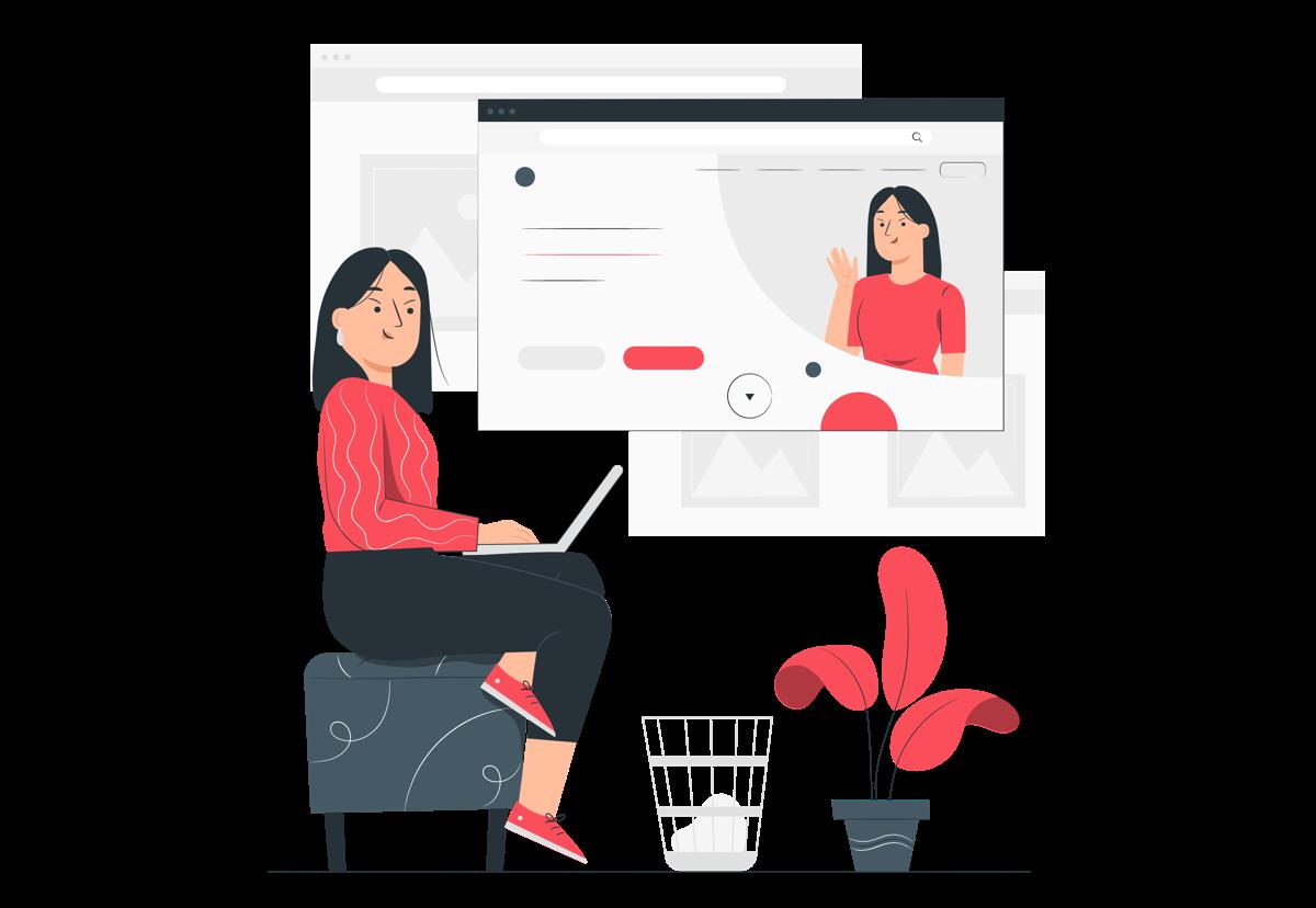 Mujer creando una landing page desde su ordenador portátil.
