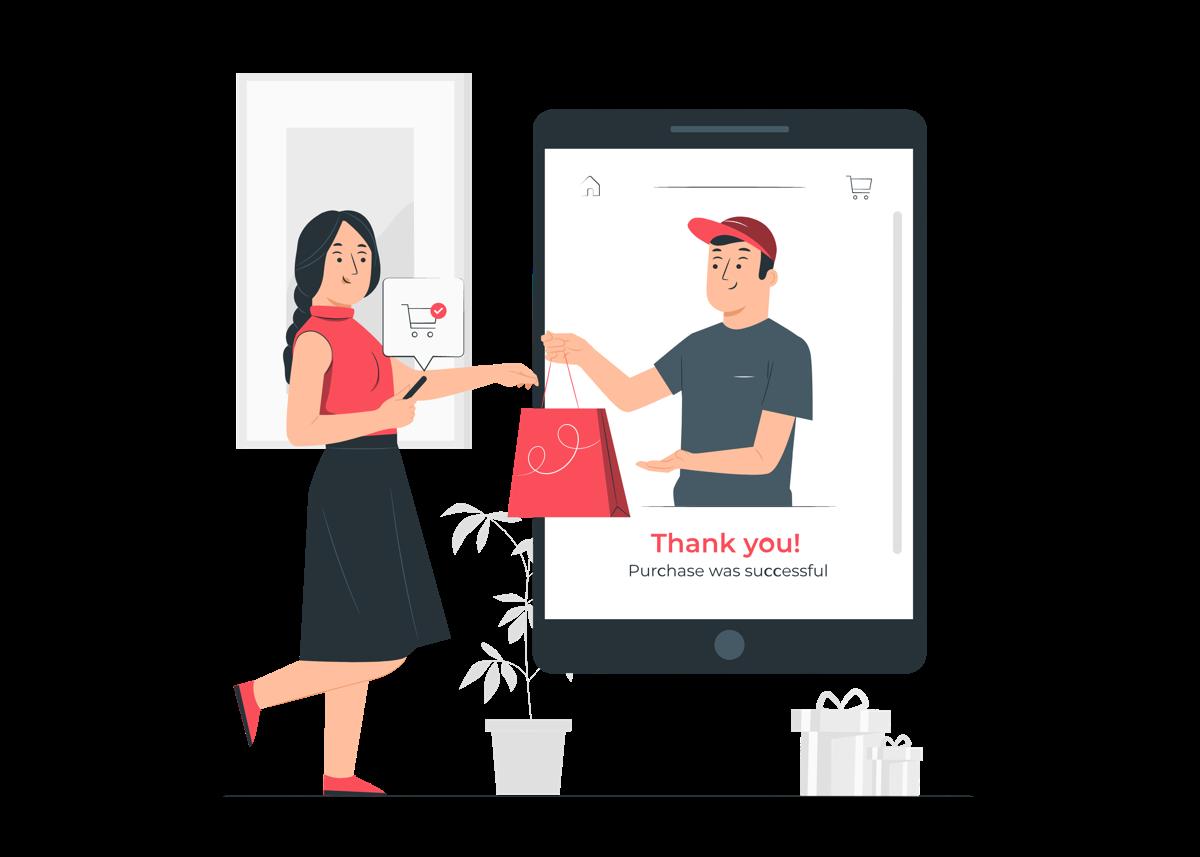 Mujer recibiendo un pedido que ha comprado en un eCommerce