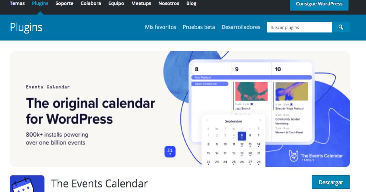 Captura de imagen de la página de descarga de The Event Calendar en WordPress