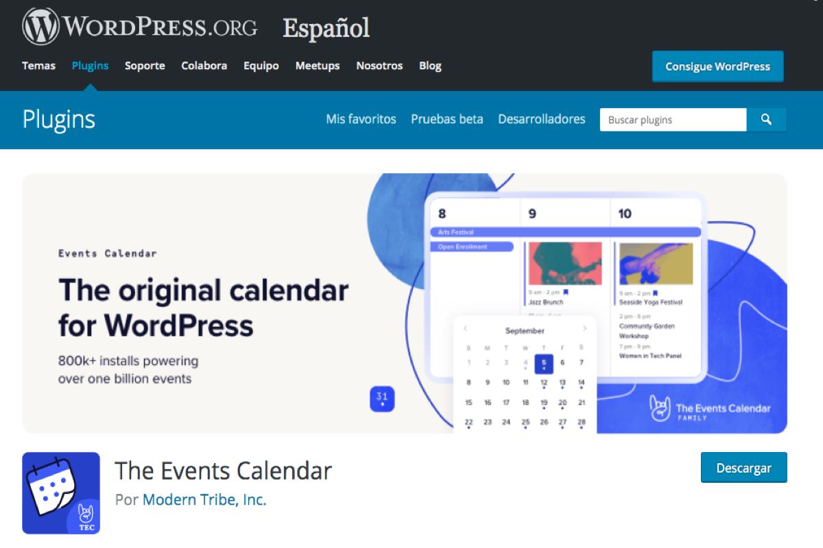 Captura de imagen de la página de descarga de The Event Calendar en WordPress