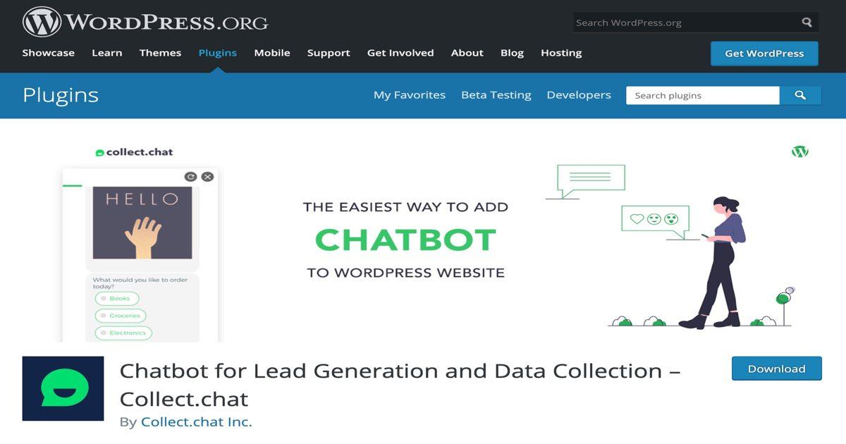 Imagen de portada del plugin Collect.chat en el buscador de plugins de WordPress