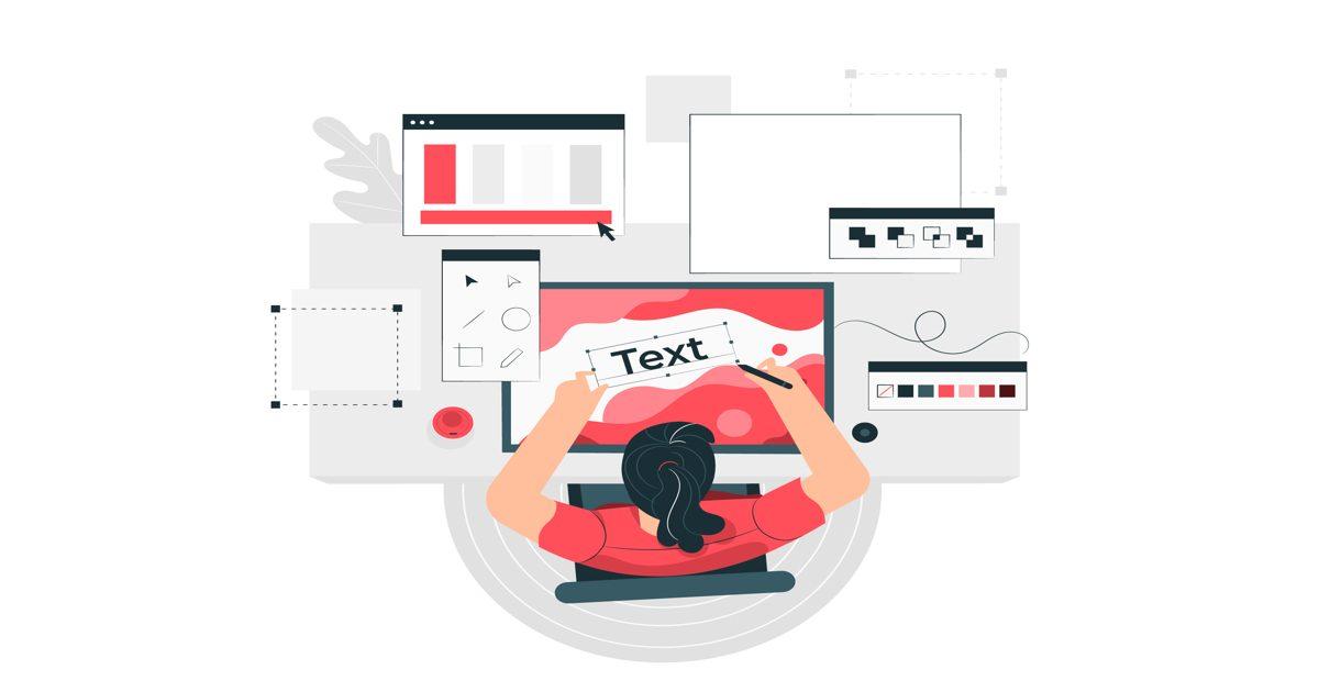 Ilustración mujer diseñando la tipografía de una página web