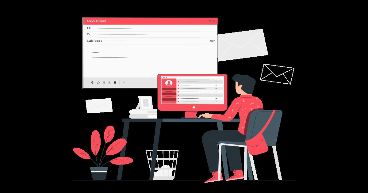 Ilustración donde aparece un hombre escribiendo un email desde su ordenador.