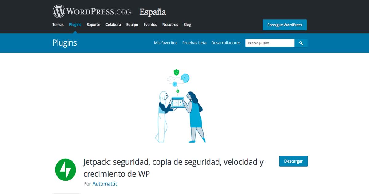 Página de descarga del plugin Jetpack en la web de WordPress