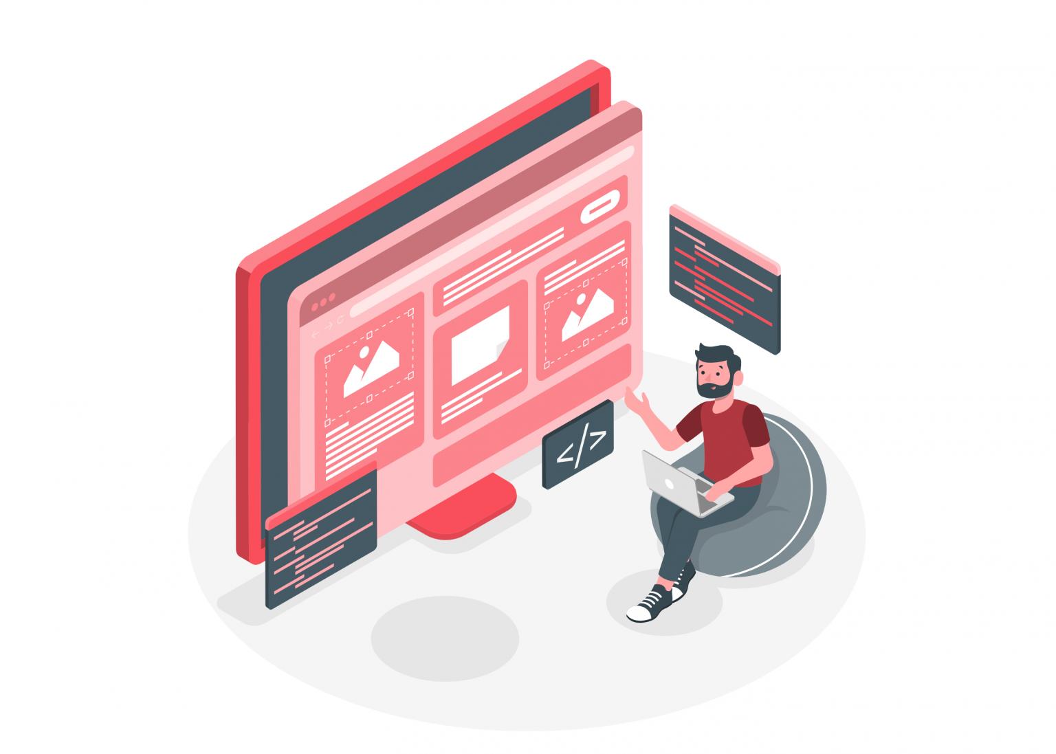 Ilustración con una persona señalando el diseño de una página web.