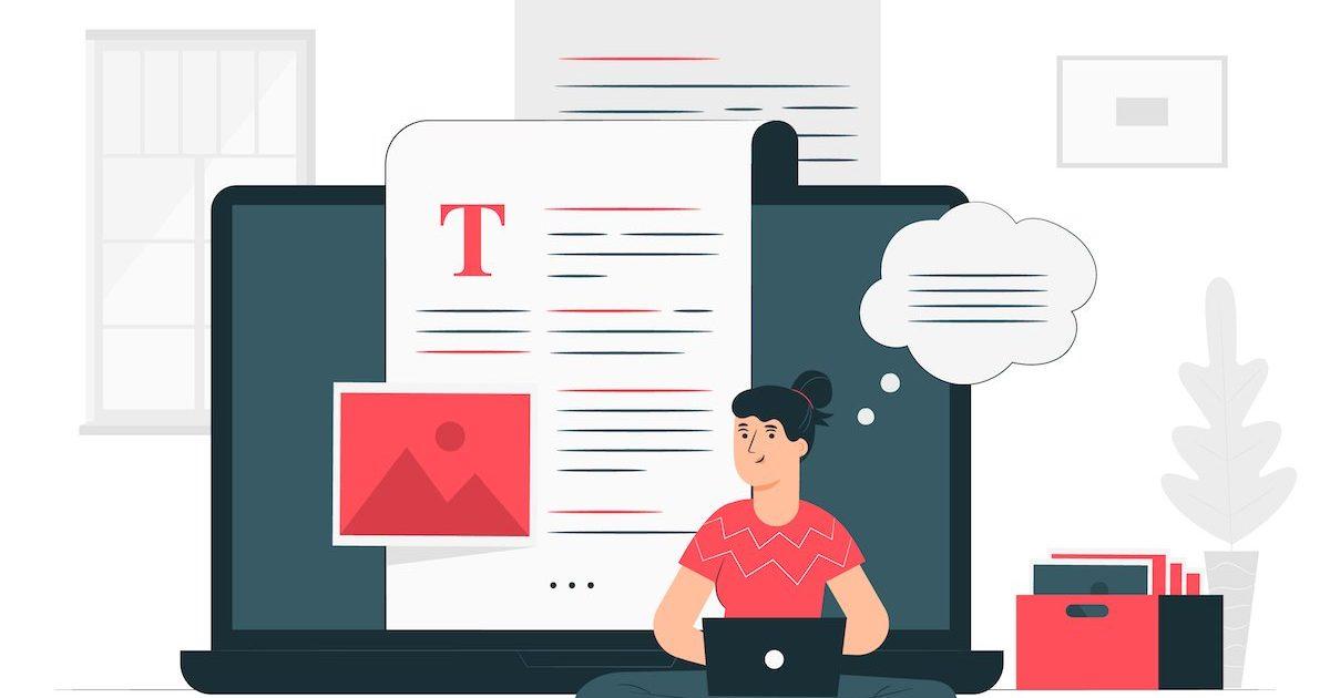 ilustración de una escritora redactando contenido
