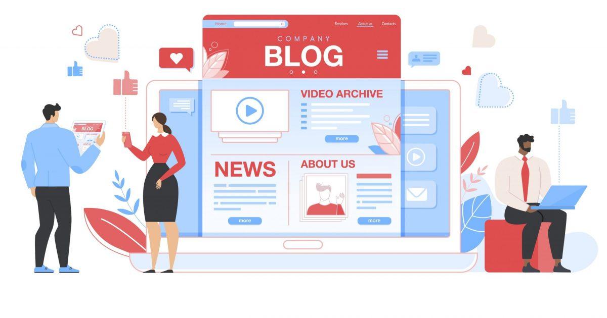 ilustración de un grupo de trabajadores de un blog