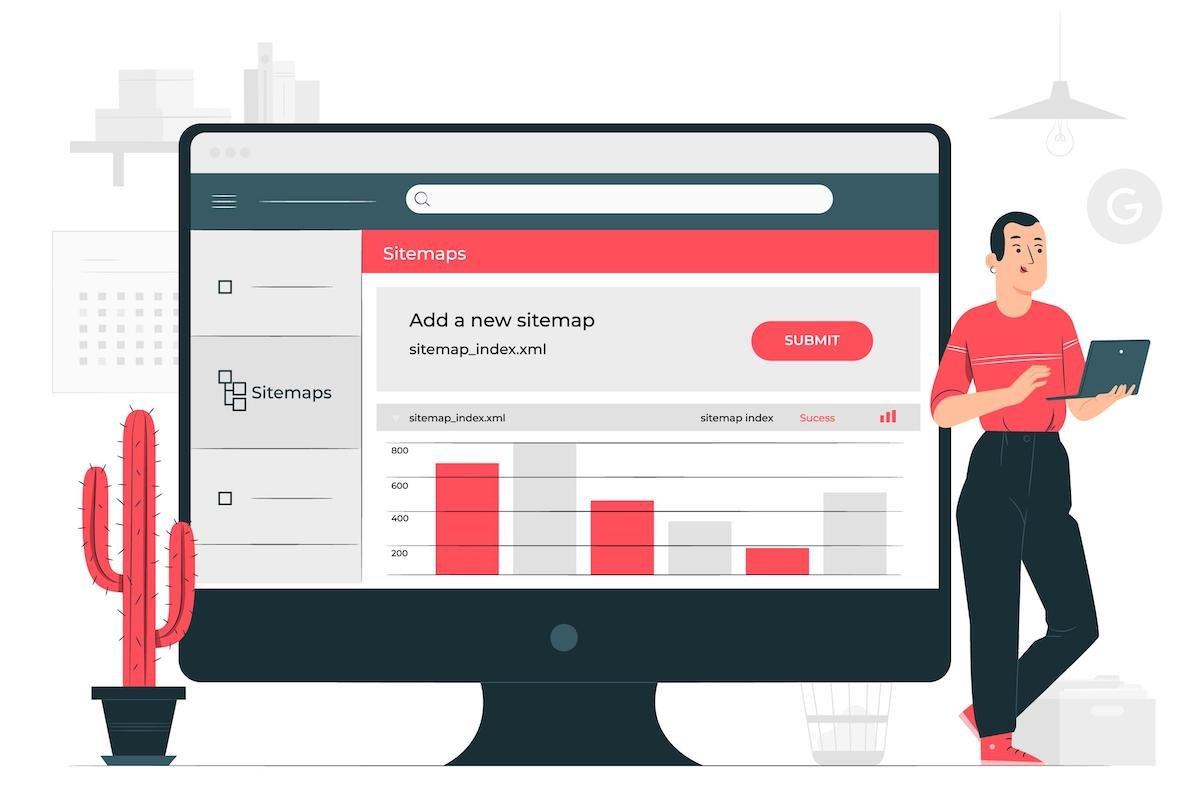 ilustración de una pantalla mostrando un sitemap
