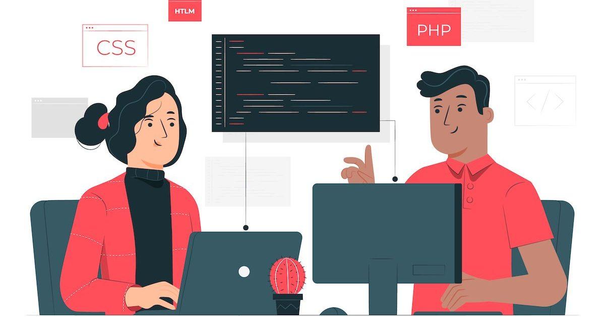 Ilustración de dos personas programando