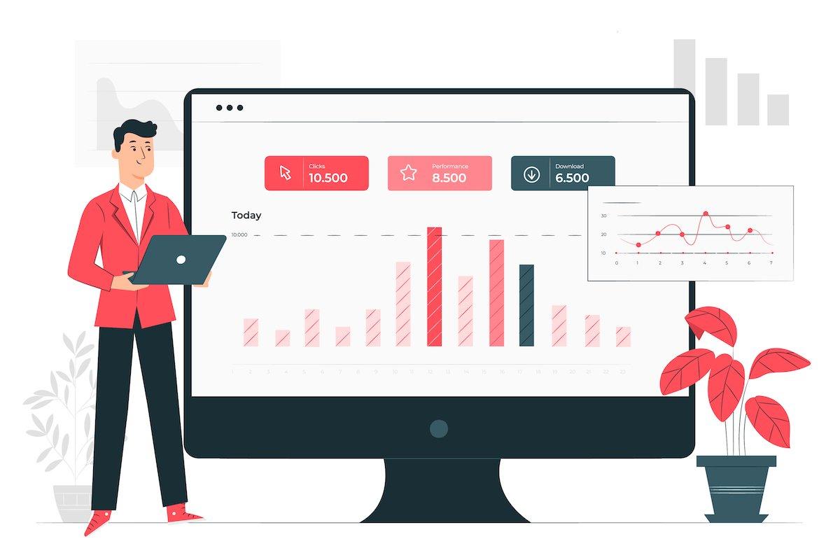 Ilustración en la que aparece una pantalla de ordenador con una gráfica analítica