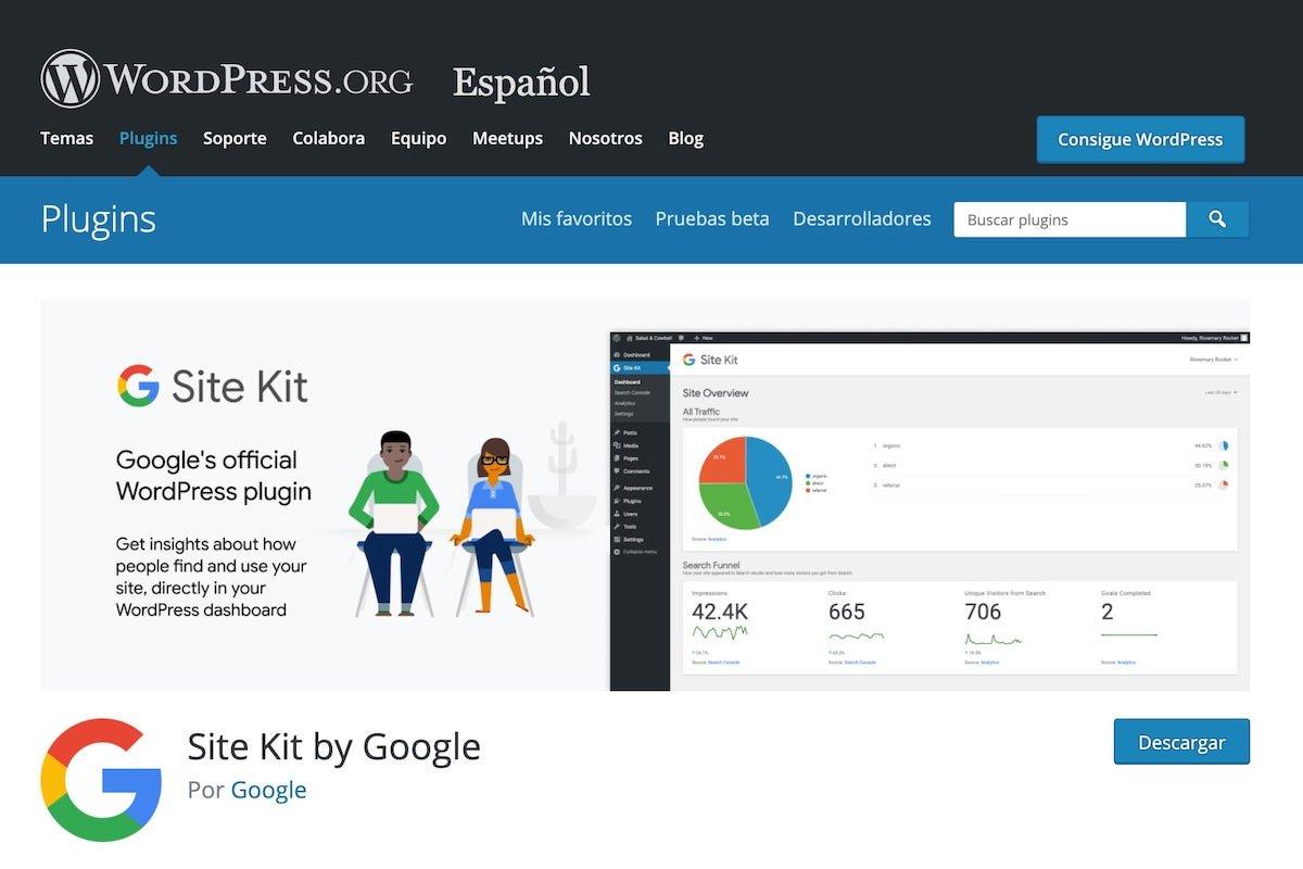 Imagen oficial de la página de descarga de Site Kit en WordPress