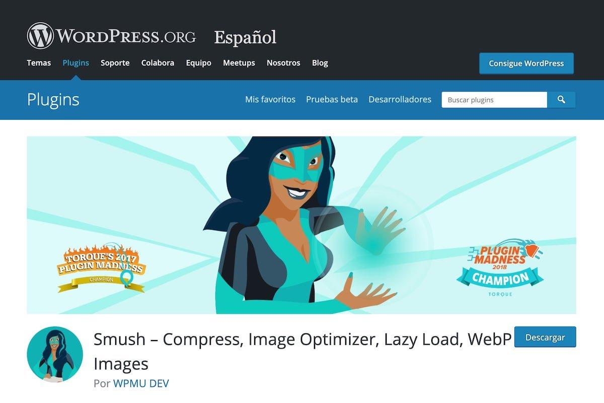 Imagen oficial de la web de descarga del plugin Smush en WordPress