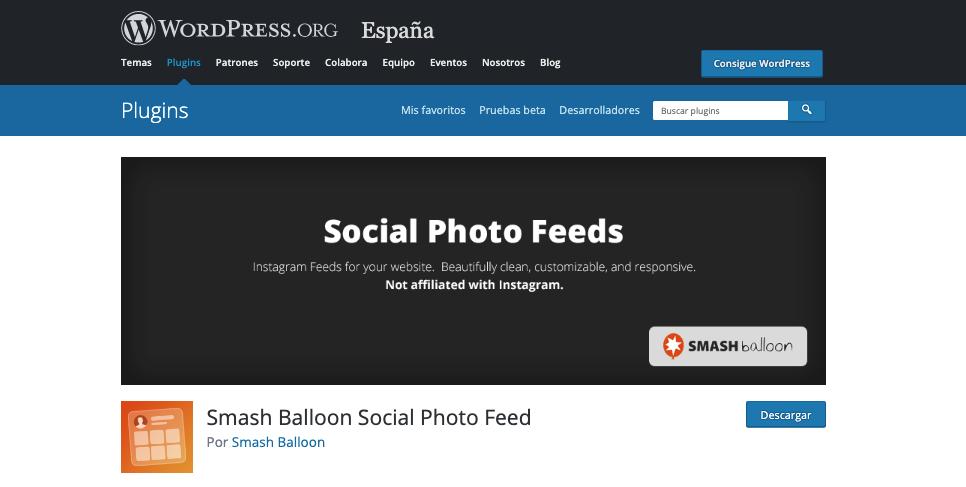 Página de descarga del plugin Instagram Feed de Smash Balloon en WordPress