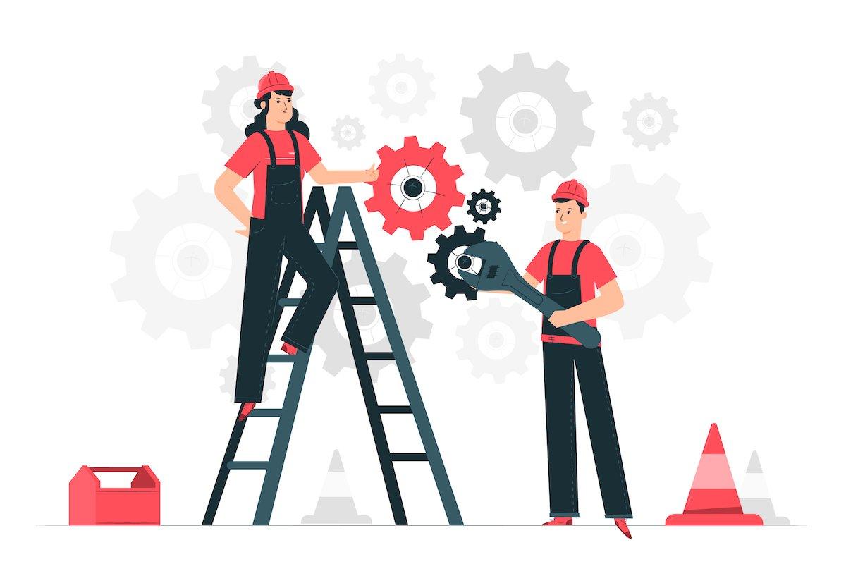 Ilustración con dos personas manipulando engranajes, representando el modo mantenimiento de una web