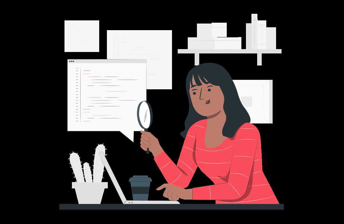 Mujer examinando código de una web