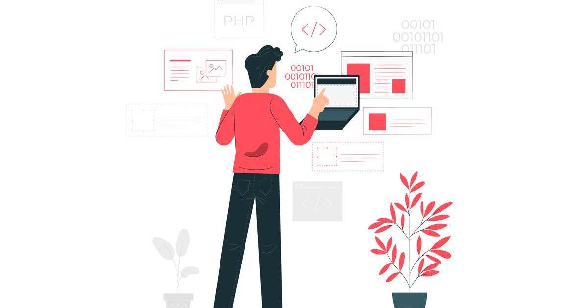 Ilustración de hombre programando con un ordenador portátil